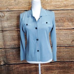 Misook Light Blue Button Up Knit Top runs large